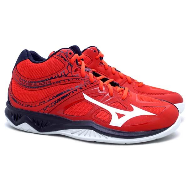 Sepatu Volley Mizuno Thunder Blade 2 MID  - Fiery Red/White/Salute