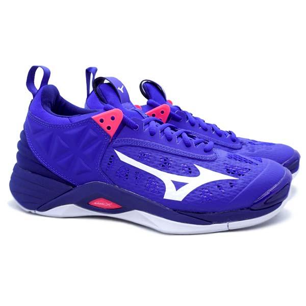 Sepatu Volley Mizuno Wave Momentum - Reflex Blue/White/Diva Pink