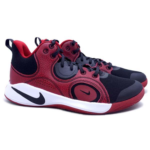 Sepatu Basket Nike Fly.By MID 2 - Black/Black Gym Red