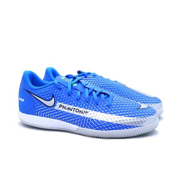 Sepatu Futsal Nike JR Phantom GT Academy IC - Photo Blue/Metallic Silver