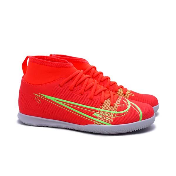 Sepatu Futsal Nike JR Superfly 8 Club IC - Bright Crimson/Metallic Silver