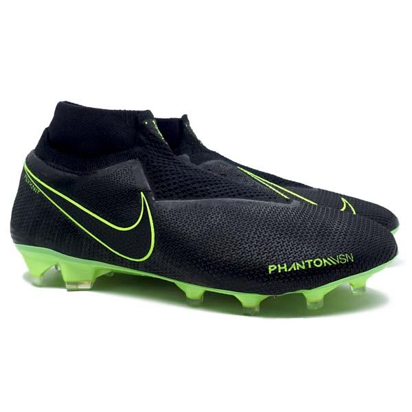 Sepatu Bola Nike Phantom VSN Elite FG - Black/Black/Volt