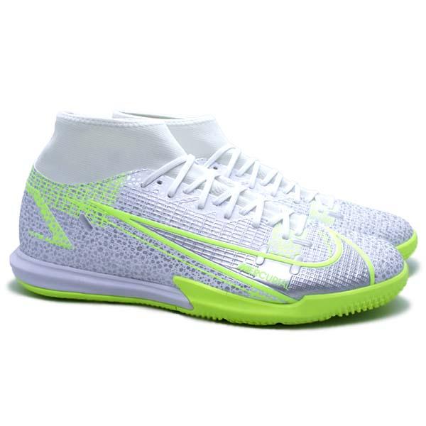 Sepatu Futsal Nike Superfly 8 Academy IC - White/Black/Metallic Silver
