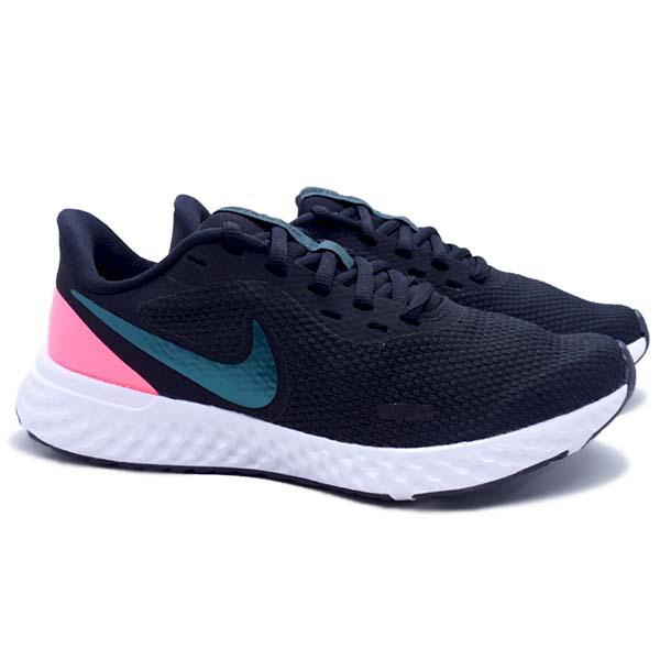 Sepatu Running Nike Wmns Revolution 5 - Black/Dk Atomic Teal