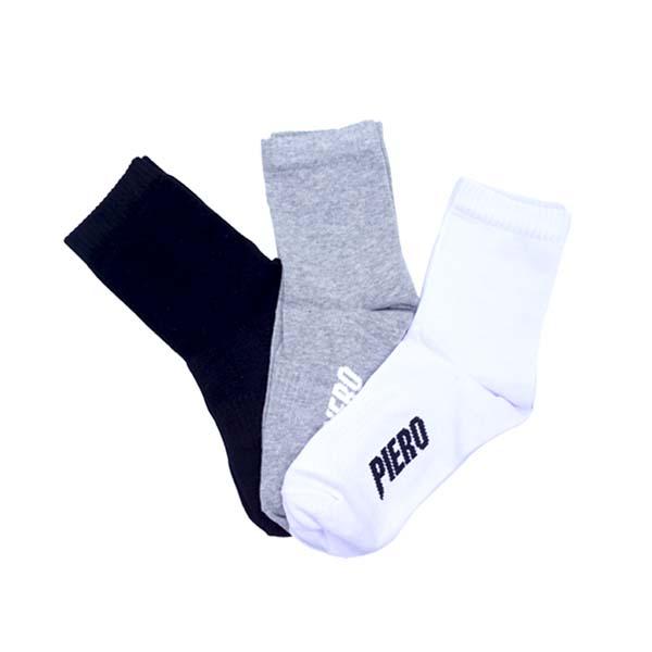 Kaos Kaki Piero Basic Quarter Sock 3Pk - Black/White/Misty Grey