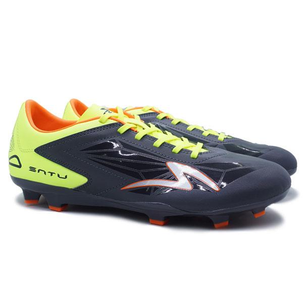 Sepatu Bola Specs Accelerator Satu Pro FG - Gunmetal/Safety Yellow/Orange