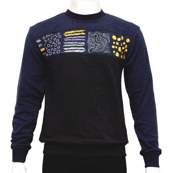 Jaket Elastico Fondo Sweater - Navy/Black